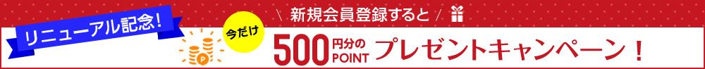 新規会員登録500ポイントプレゼント!